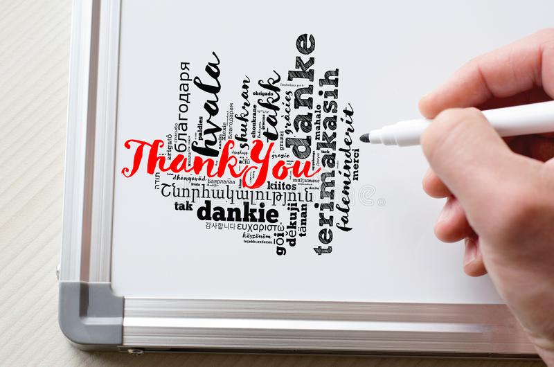 Thank You word cloud in different languages royalty free stock image