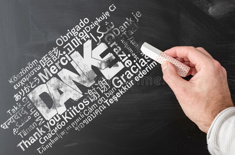 Thank you word cloud in multiple languages on blackboard. With German word DANKE centered stock images