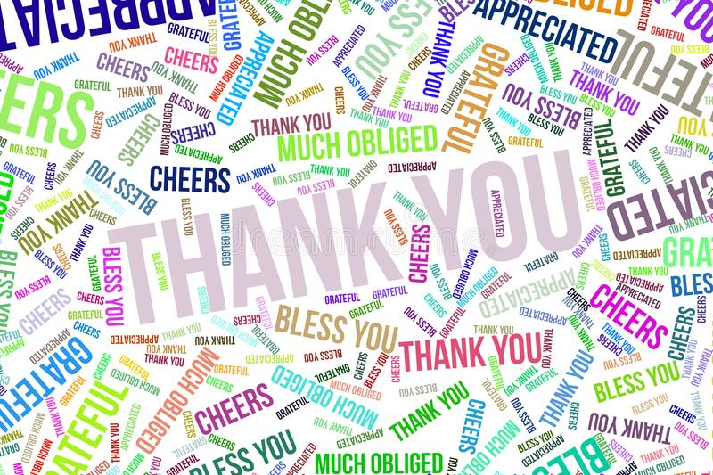 Thank You, texture or background for motivation or encouragement. Thank You, word cloud for web page, graphic design, catalog, wallpaper or background stock illustration