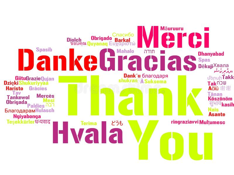 Thank You Word Cloud. Words of the phrase Thank You in different languages, with the more widely spoken translation in bigger fonts vector illustration
