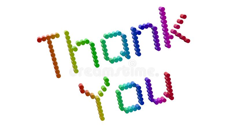 Thank You Word 3D Rendered Text With Dotted Font Illustration Colored With RGB Rainbow Gradient. Isolated On White Background royalty free illustration