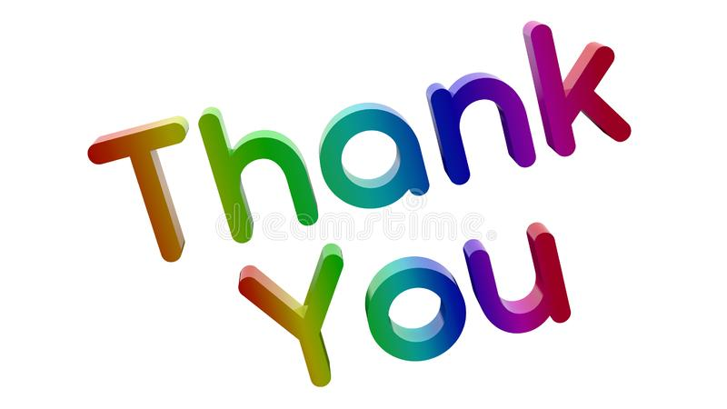 Thank You Word 3D Rendered Text With Round Font Illustration Colored With RGB Rainbow Gradient. Isolated On White Background royalty free illustration