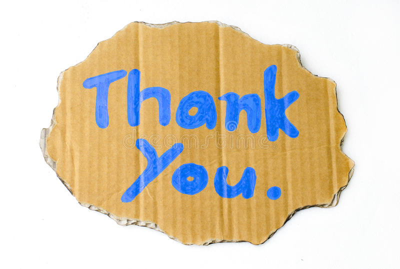 Thank you wording on cardboard. Thank you wording in cardboard on white background stock images
