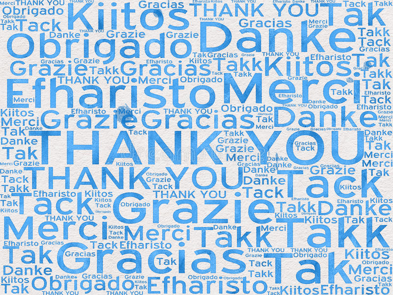 Thank You words in different languages as background royalty free illustration