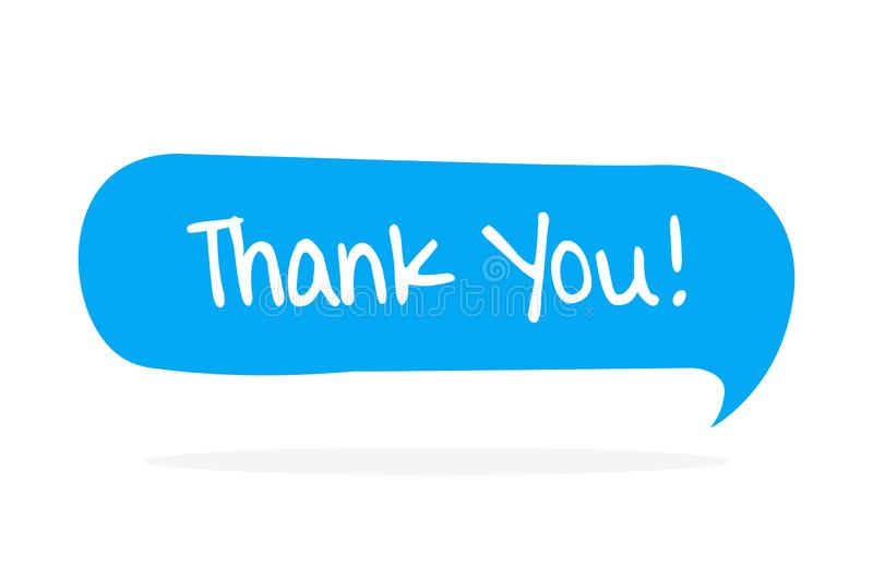 Thank you - yellow speech bubble in doodle stock illustration