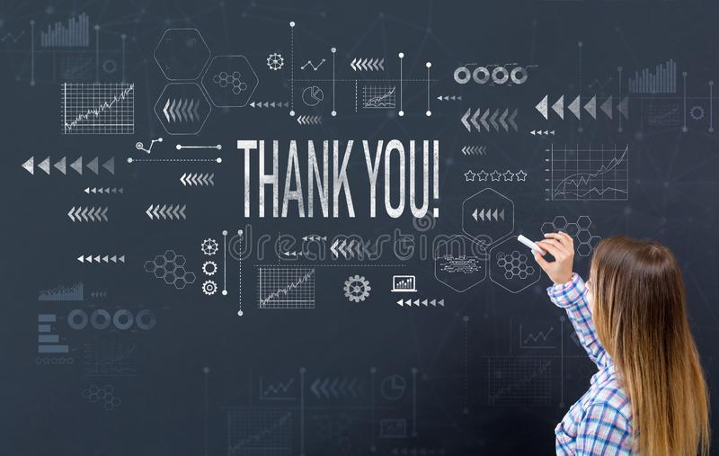 Thank you with young woman royalty free stock images