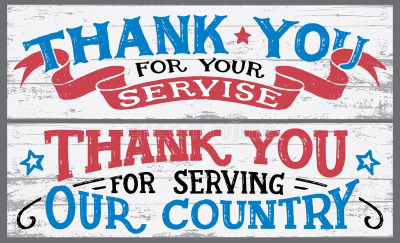Thank you for your service wood signs stock illustration