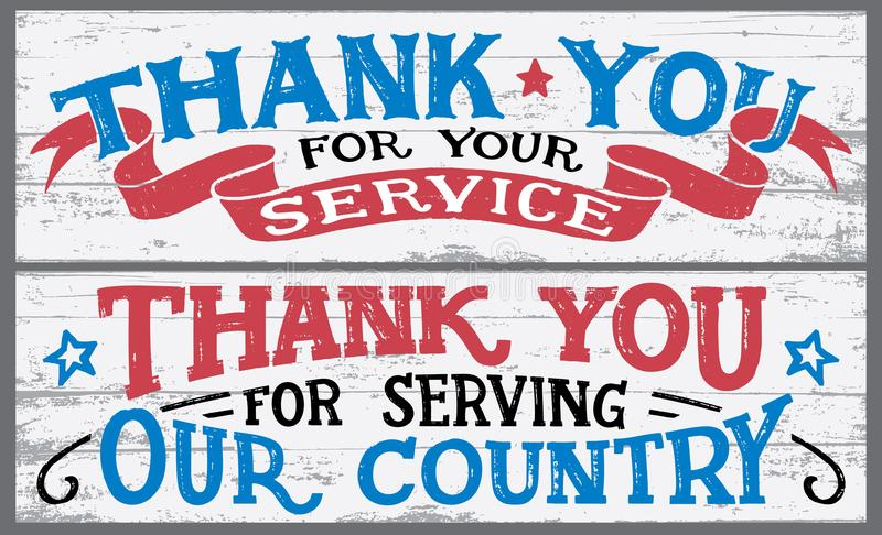 Thank you for your service wood signs vector illustration