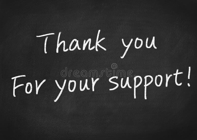 Thank you for your support. Concept text on blackboard background stock photography