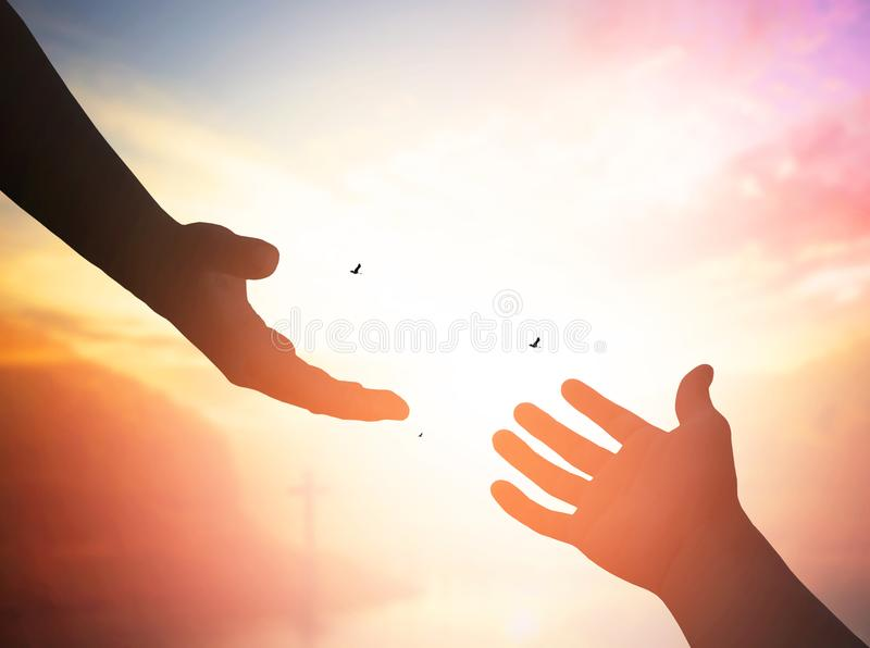 Helping hand concept and international day of peace. Thank You For Your Support. how can i help you. international day of peace.develop a friendship.please help stock image