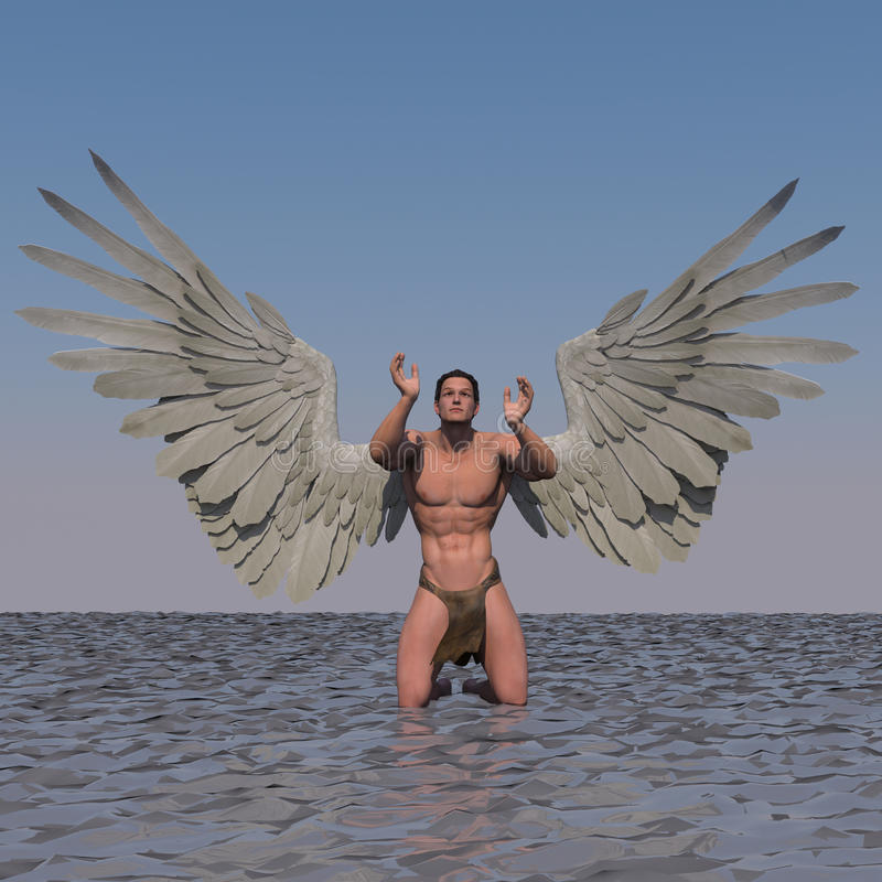 Thankful. A male angel in a pose stock illustration