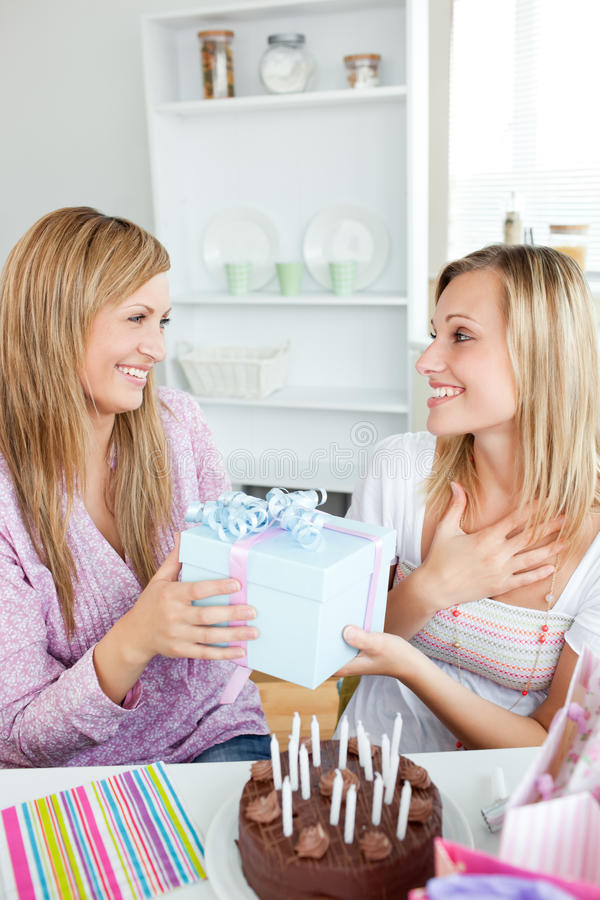 Download Thankful Woman Receiving A Gift For Her Birthday Stock Image - Image: 16484193