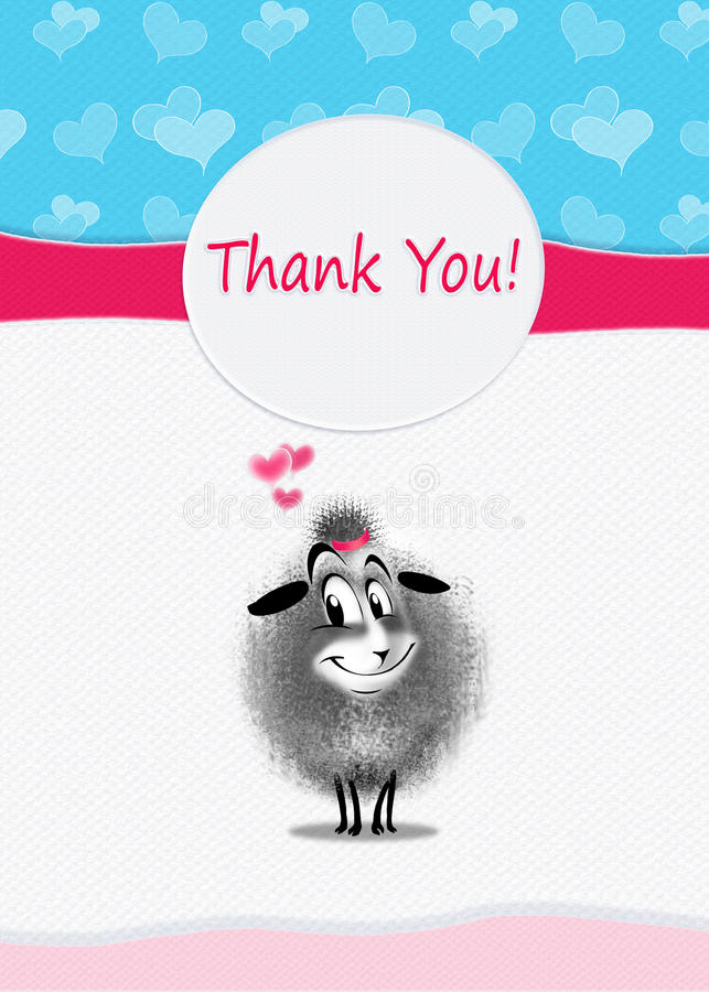 Thanks card. Thank You! card design. Cute sheep sends you a thank you from the heart. Digital Illustration. You can also show your friends and family that you royalty free illustration