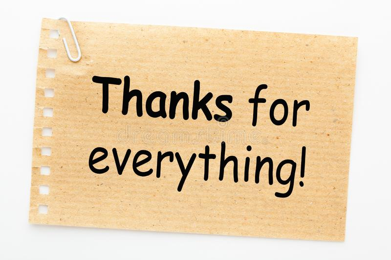 Thanks for Everything. Text on sheet of recycled paper on white background stock photos