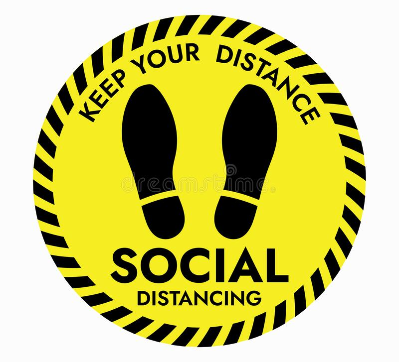 Free Thanks For Practicing Social Distancing Floor Sticker Sign Royalty Free Stock Photo - 182137615