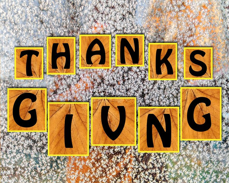 Thanks giving on blurr background. Close royalty free stock photos