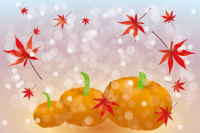 Thanks giving card with copy space. Thanks giving card template without text with pumpkins and maple leafs on rainbow background - eps 10 vector vector illustration