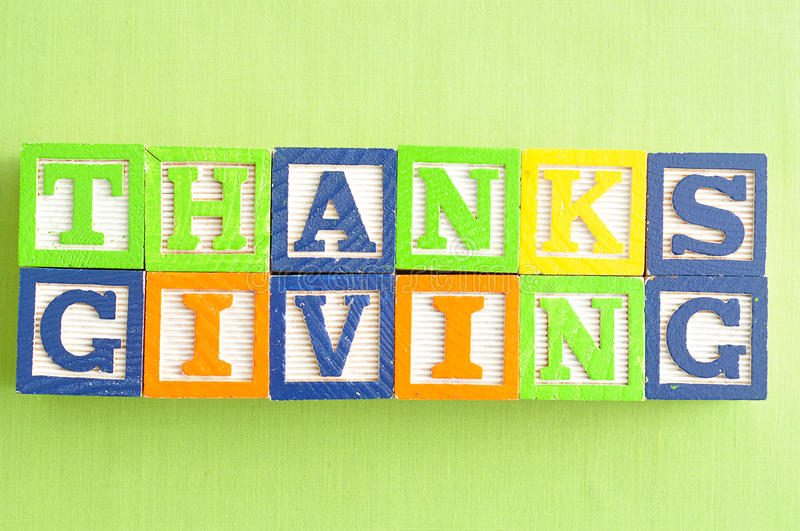 Thanks giving day. Thanks giving written with colorful blocks royalty free stock images