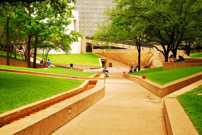 Thanks Giving Square, Dallas. Thanks Giving Square, in Dallas, Texas, offers a green oasis in the center of downtown stock image