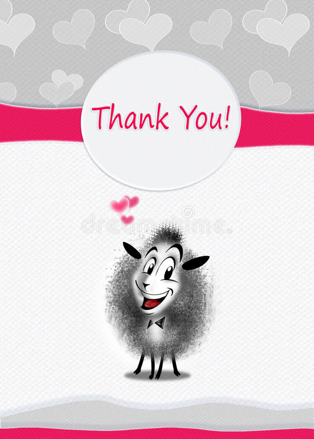 Thanks Greeting card cute sheep royalty free illustration