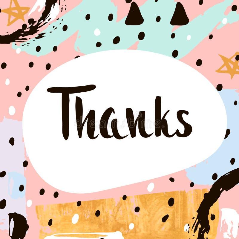 Thanks handwritten unique lettering creative invitation card with thanks handwritten unique lettering creative invitation card with hand drawn shapes textures trendy art card vector illustration stopboris Choice Image