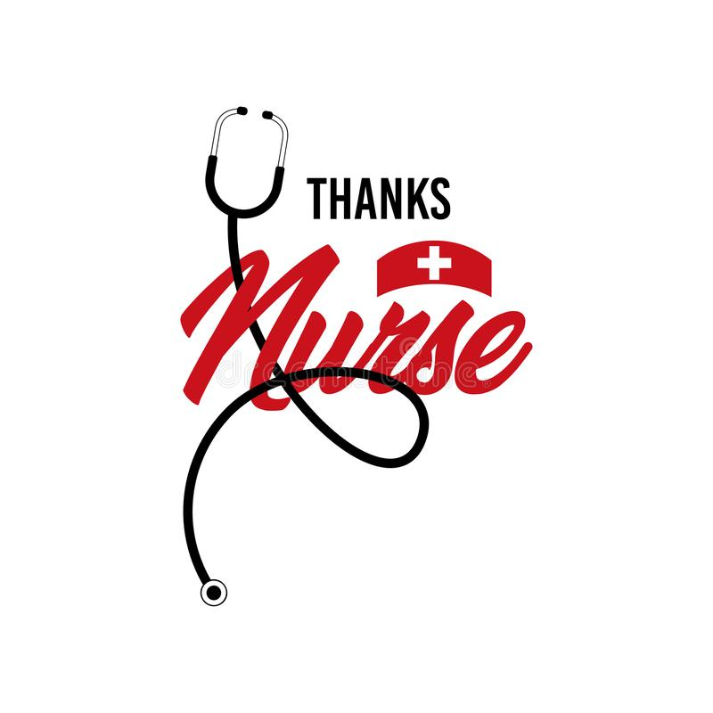 Thanks Nurse Vector Template Design Illustration stock illustration