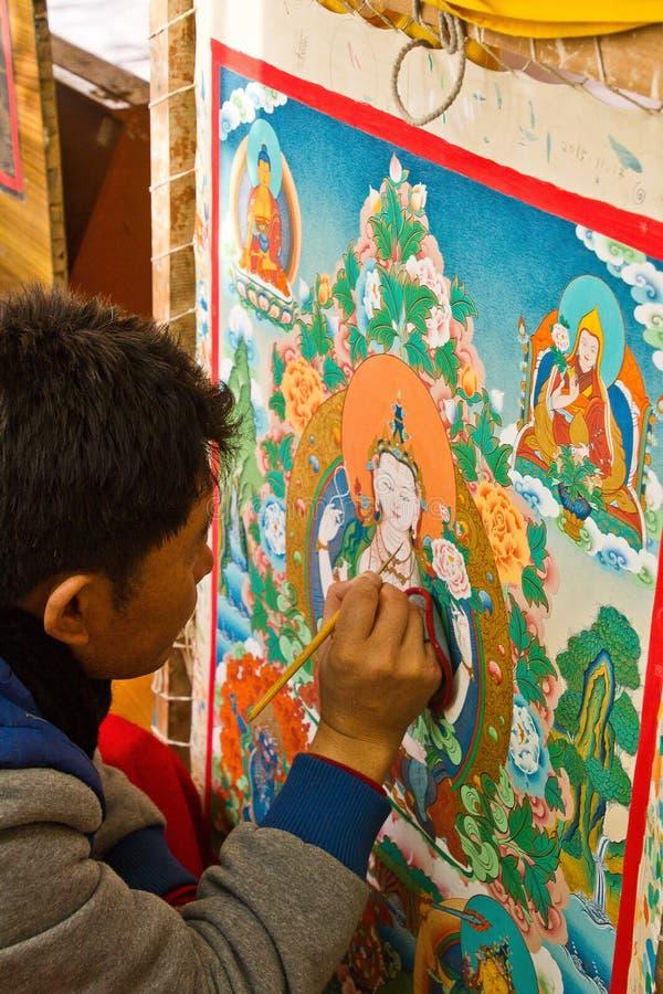 Thangka painting, Norbulingka Institute of Tibetan Arts, Dharamshala, India royalty free stock image