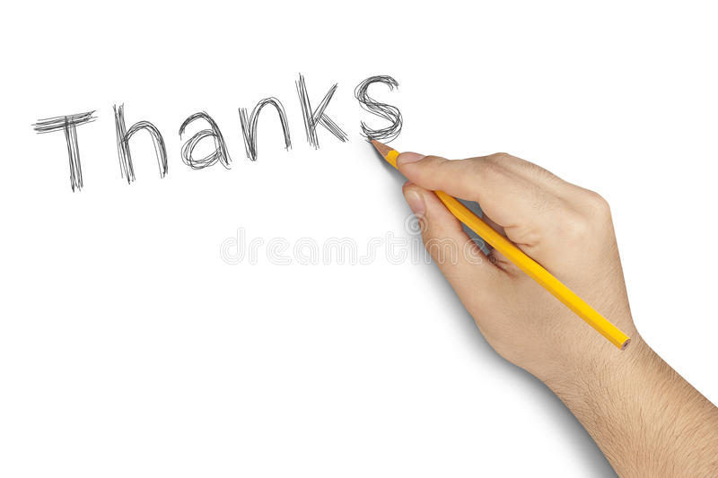 Thanks Pencil Hand Writing White. Male hand writing Thanks with pencil on white background royalty free stock photos