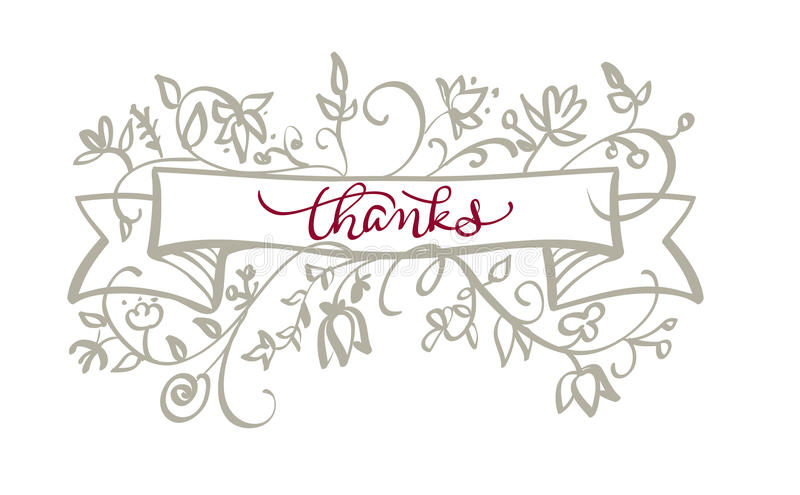 Thanks text with frame flourish of vintage decorative whorls . Calligraphy lettering Vector illustration EPS10 vector illustration