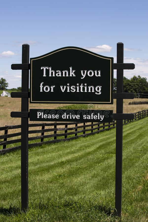 Thanks for visiting sign in Upperville Virginia. Thanks for visiting sign in Upperville Virginia in Fauquier County Virginia royalty free stock photography