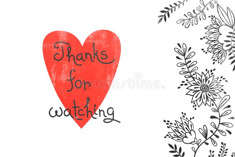 Thanks for watching. Card for social media content. Vector hand drawn illustration with heart, flowers and gratitude stock illustration