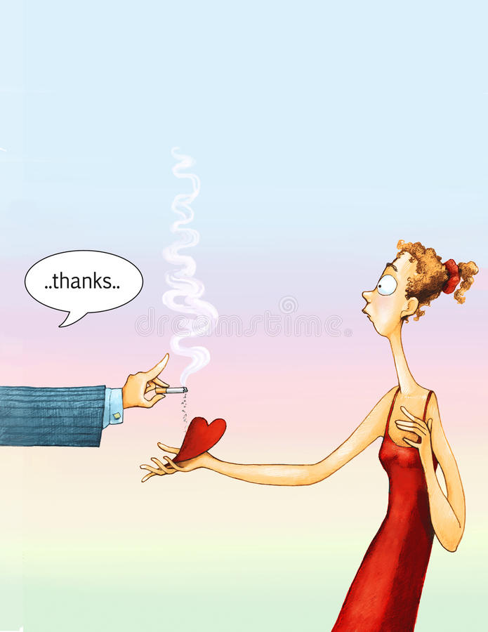 Thanks. A woman gives her heart to a man who uses it as an ashtray and thanks royalty free illustration