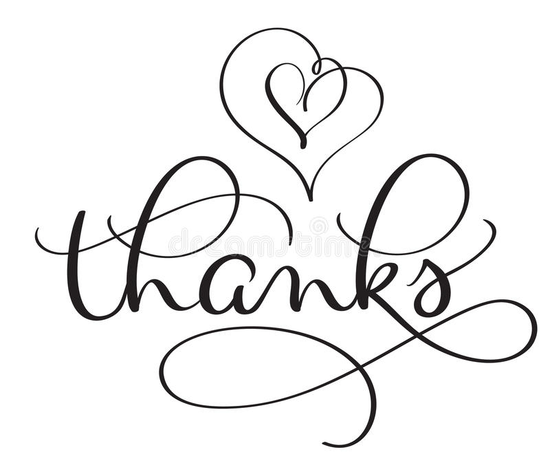 Thanks word with hearts on white background. Hand drawn Calligraphy lettering Vector illustration EPS10 vector illustration
