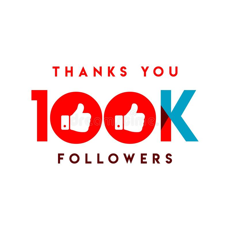 Thanks You 100k Followers Vector Template Design Illustration vector illustration