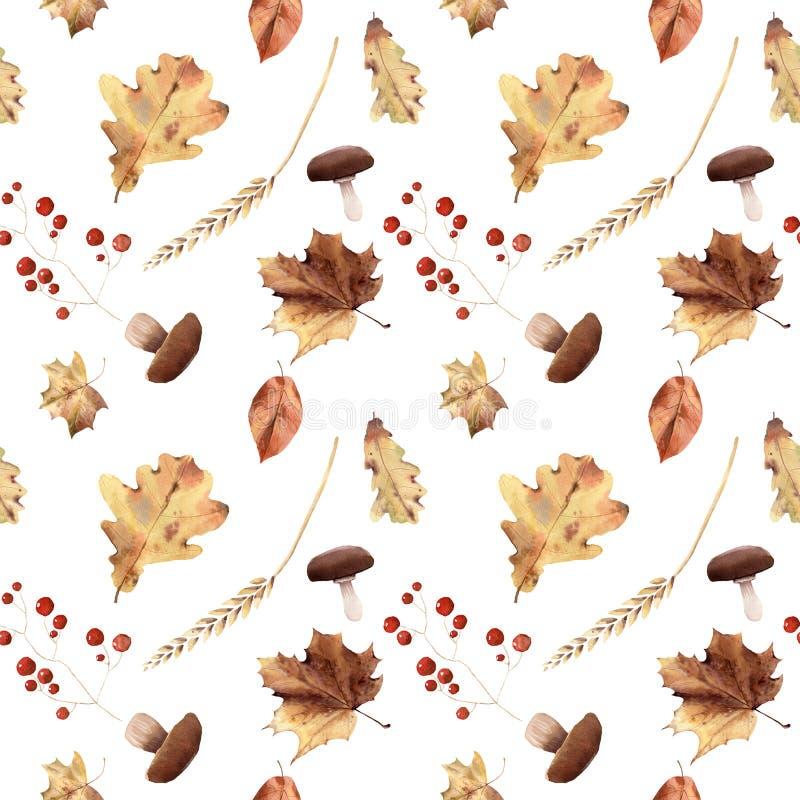 Thanksgiv dipinto a mano delle foglie del modello senza cuciture di autunno dell'acquerello fotografia stock libera da diritti