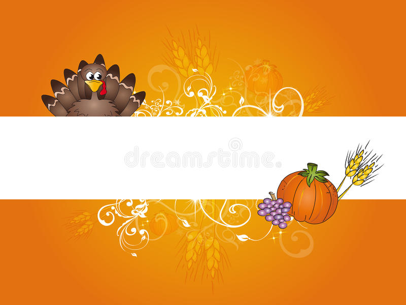 Thanksgiving. Illustration of banner for thanksgiving with turkey , pumpkins , bunch of grapes and ears of corn