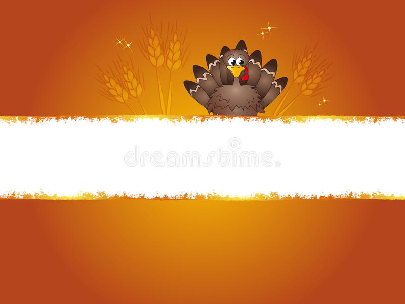 Thanksgiving. Illustration of banner for thanksgiving with turkey and ears of corn
