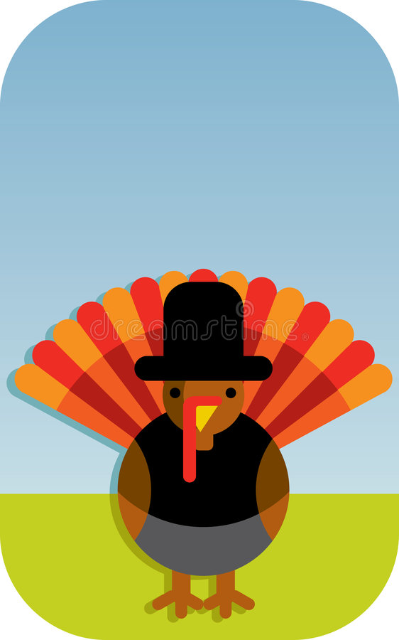 ThanksGiving. Gretting card with a turkey wearing special clothes for the thanksgiving day