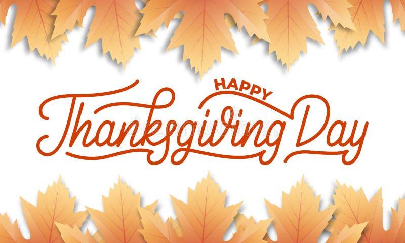 thanksgiving Ahornfallblätter und glückliche Danksagungs-Tagesbeschriftungskalligraphie vektor abbildung