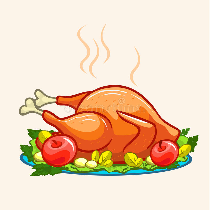 Thanksgiving appetizing fried turkey meal vector illustration