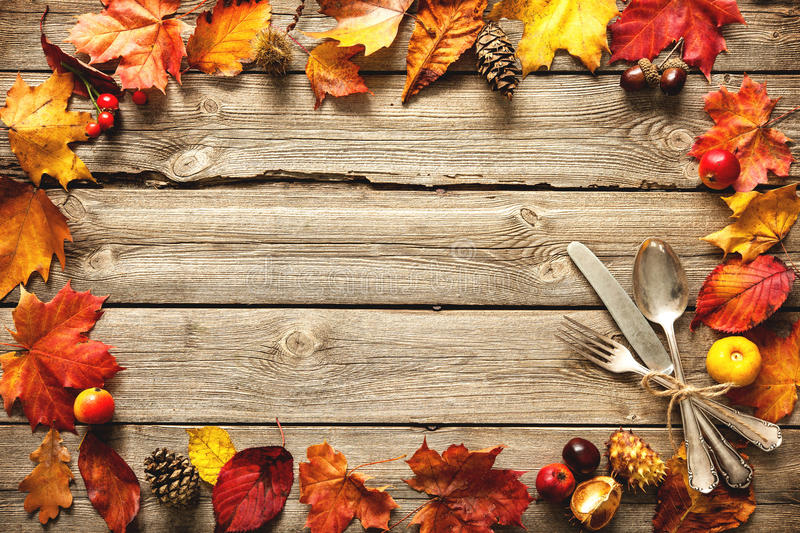 Download Thanksgiving Autumn Background With The Vintage Silverware Stock Image