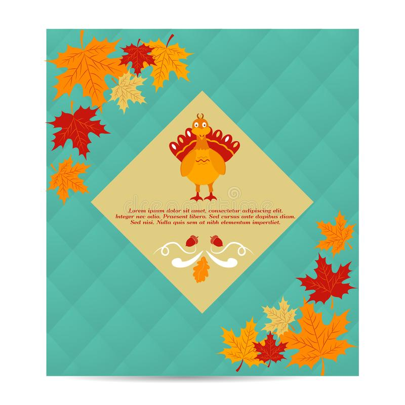 Thanksgiving autumn, fall background with pumpkin and foliage. Thanksgiving autumn, fall background with foliage and pumpkin royalty free illustration
