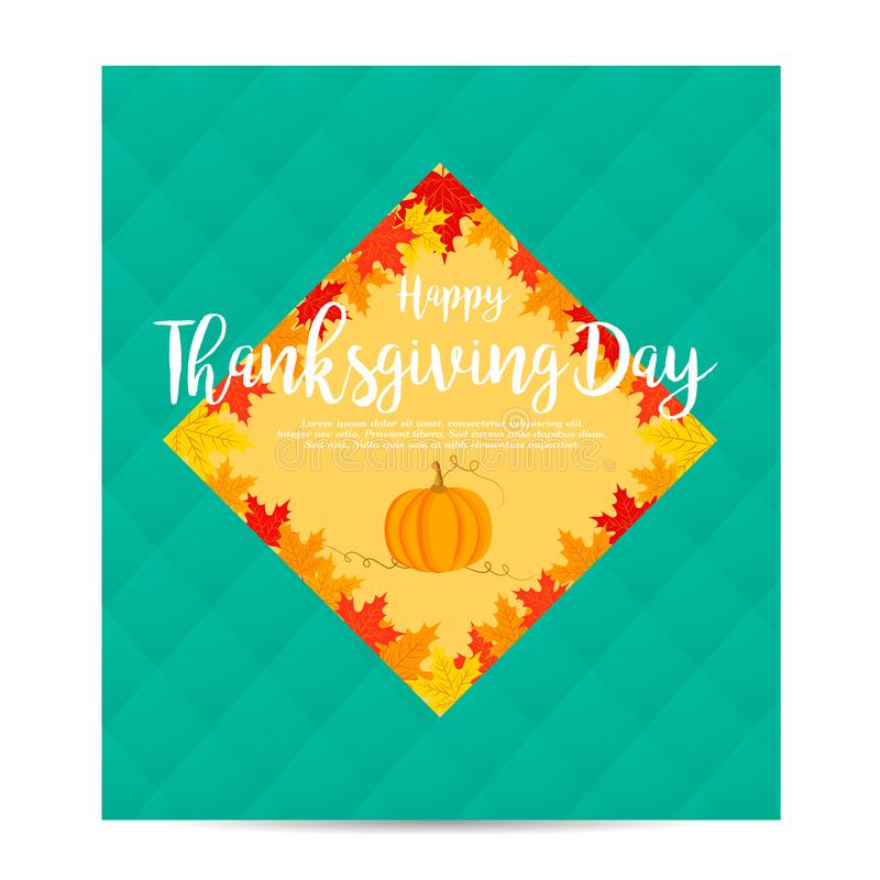 Thanksgiving autumn, fall background with pumpkin and foliage. Thanksgiving autumn, fall background with foliage and pumpkin vector illustration