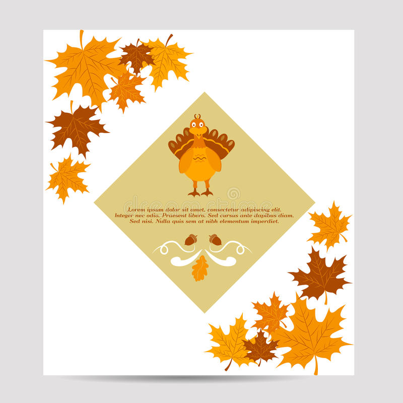 Thanksgiving autumn, fall background with turkey and foliage. Thanksgiving autumn, fall background with foliage andturkey stock illustration
