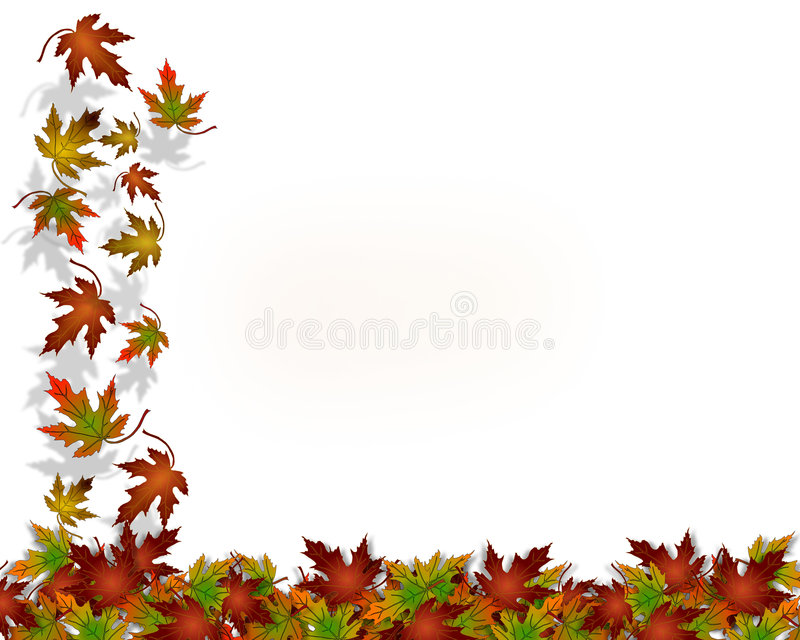 Thanksgiving Autumn Fall Leaves. Illustration composition of colorful fall leaves on white for Thanksgiving invitation, border or background with copy space stock illustration