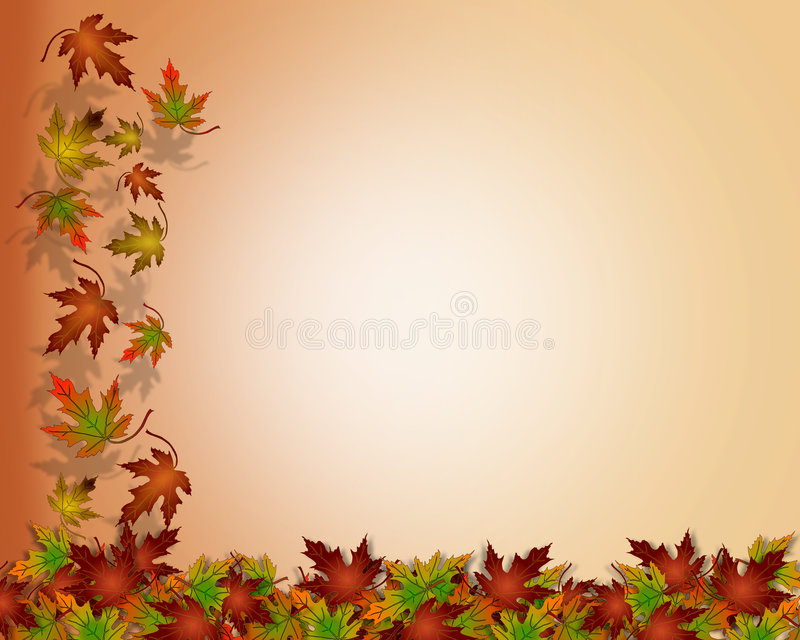 Thanksgiving Autumn Fall Leaves. Illustration composition of colorful fall leaves on white for Thanksgiving invitation, border or background with copy space vector illustration