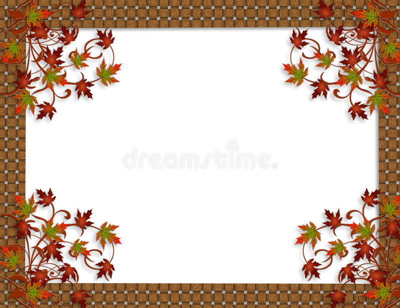 Thanksgiving Autumn Fall leaves Border. Image and Illustration composition for Autumn, Fall or Halloween, Thanksgiving invitation, woven border or background vector illustration