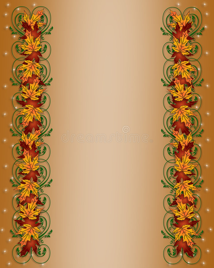 Thanksgiving Autumn Fall Leaves Border. Illustration composition of colorful fall leaves for Thanksgiving invitation, border or background with copy space vector illustration