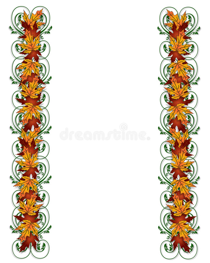 Thanksgiving Autumn Fall Leaves Border. Illustration composition of colorful fall leaves for Thanksgiving invitation, border or background with copy space royalty free illustration