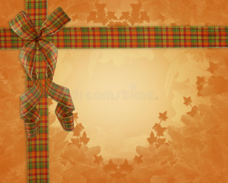 Thanksgiving Autumn Fall ribbons Border. Image and Illustration composition plaid ribbons for Autumn, Fall or Halloween, Thanksgiving invitation, border or